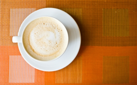 Coffee hot latte in white cup Stock Photo