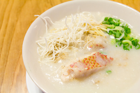 rice gruel fish , congee  chinese food