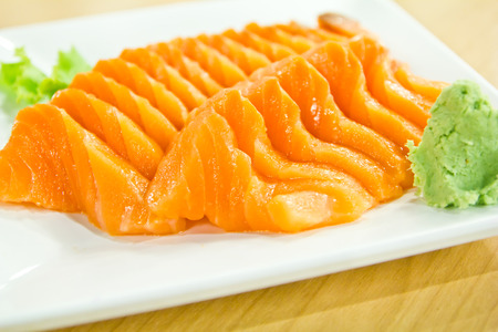 japan food salmon sashimi on white plate photo