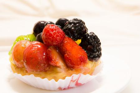 Fresh fruit tart on dish photo