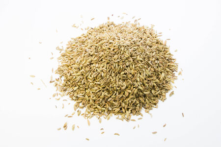 fennel seeds on white background photo