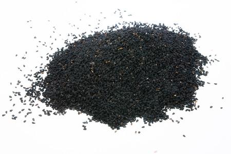 black seed: Nigella  black seed on white background