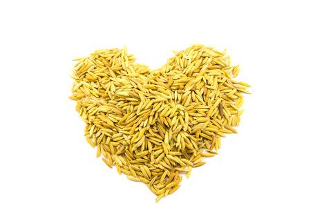paddy rice heart shape on white background