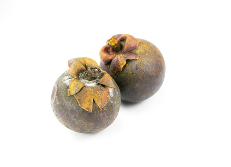Mangosteen rotten on white background photo
