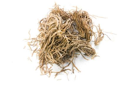 Getrocknete Kr�uter, Vetiveria zizanioides (L.) Nash ex Kleine auf wei�em Hintergrund