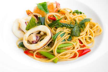 Spaghetti seafood spicy thai style photo