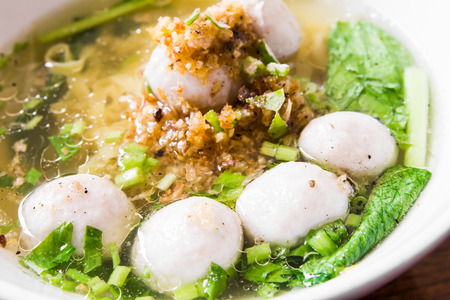 chinese noodles: rice noodles with pork ball Stock Photo