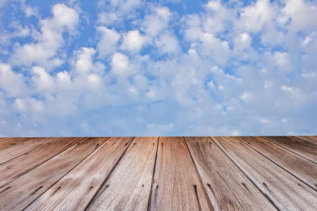 wooden planks with sky background photo
