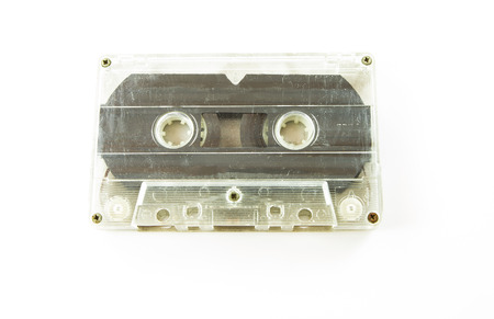 audio cassette: old used Audio cassette on white background