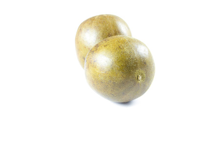 arhat: arhat fruit,Siraitia grosvenorii on white background Stock Photo