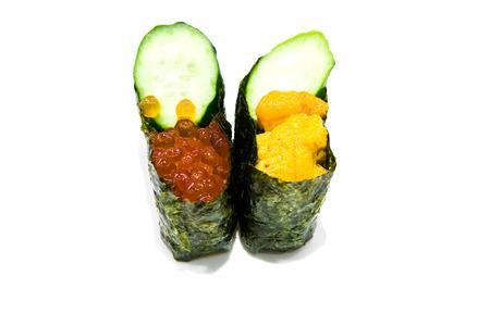 Uni and ikura sushi with rice roe