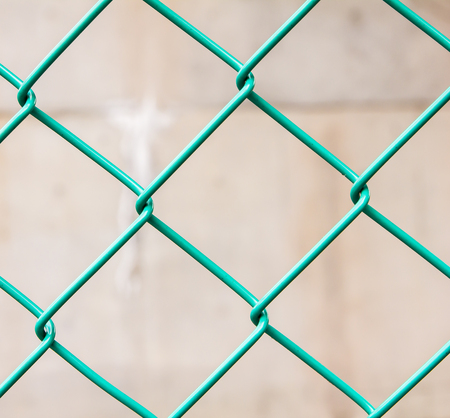 chain link green fence background Stock Photo