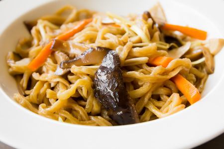 mee pok: chinese fried noodles with chicken Stock Photo