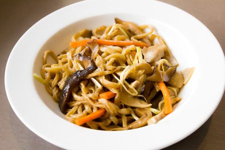 mian: chinese fried noodles with chicken Stock Photo