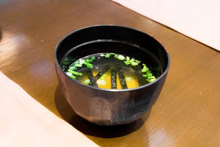 japanisches Essen, Miso-Suppe auf den Hintergrund