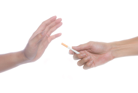 refused: refused the offer of a cigarette