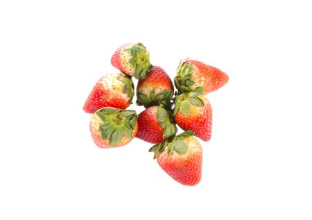 red fresh strawberries on white background Stock Photo