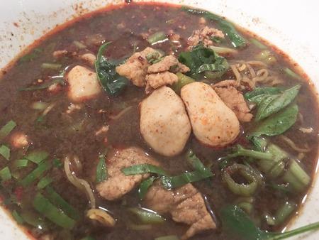 thai food pork noodle soup