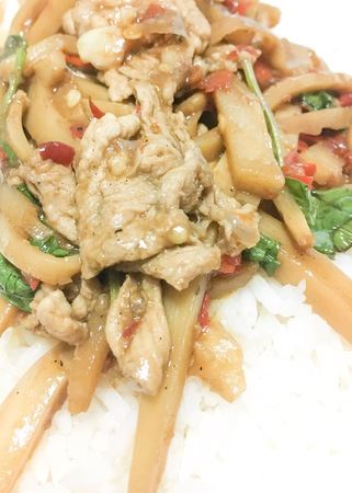 bamboo shoot fried pork spicy with rice