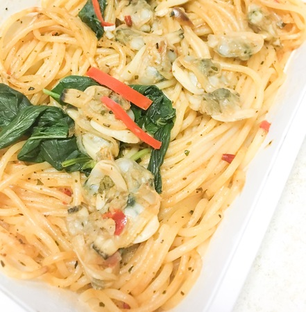 spaghetti clams hot and spicy Banque d'images