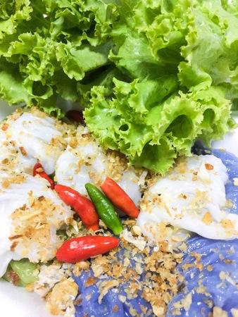 Thai steamed rice-skin dumplings Stock Photo