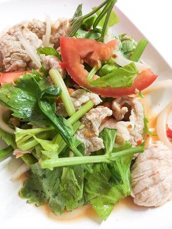pork salad spicy thai food