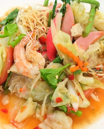 salad shrimp spicy with noodles Stock Photo