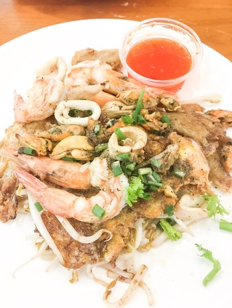 fried crispy mussel and seafood with bean sprout. Stock Photo