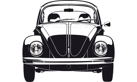 A black vintage car drawing on white background