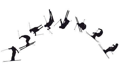 A ski jump silhouette in black on white background Ilustração