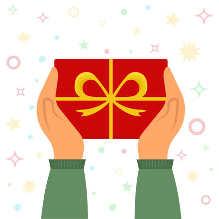 Person with gift. Hands holding a gift box. Flat vector illustration. Cartoon style Ilustracja