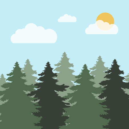 Forest landscape. Vector illustration of a wild green forest. Evergreen conifers. Pine, spruce, tree