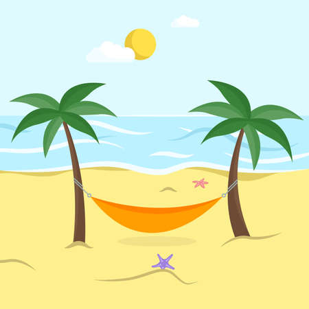Beach with palm trees, hammock between two coconut trees. Tropical island with beautiful sea view. Flat style. Vector illustration Ilustracja