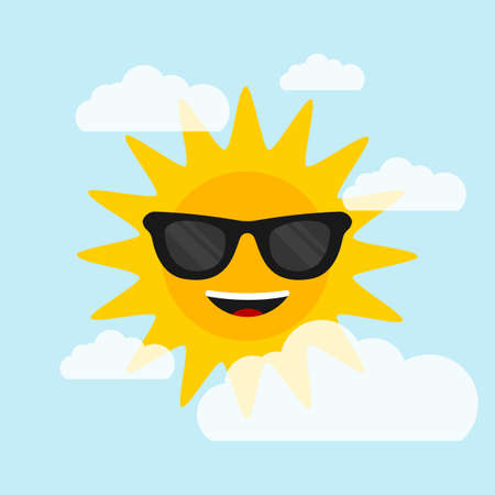 Sun with sunglasses on blue background with clouds. Flat style. Vector illustration