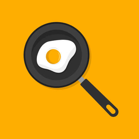 Fried egg in a frying pan. Flat cartoon style. Vector illustration 向量圖像