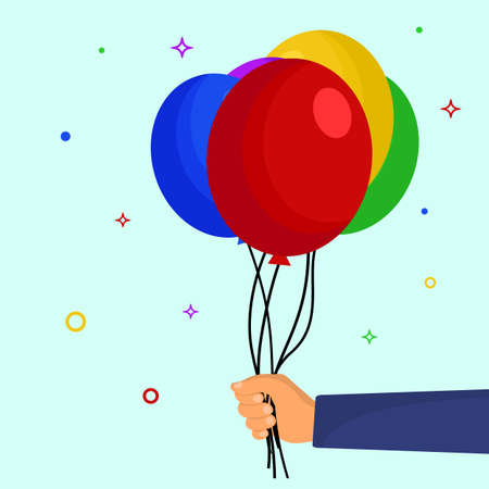 Hand holding balloons. Colorful set of balloons in the hand for party decoration, baby shower, happy birthday, Vanentines day. Flat cartoon style. Vector illustration