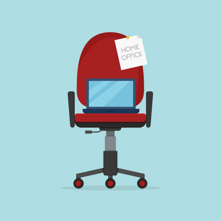 Home office chair with laptop. Elements of workplace interior. Work from home, freelance or studying. Flat cartoon style. Vector illustration Ilustracja