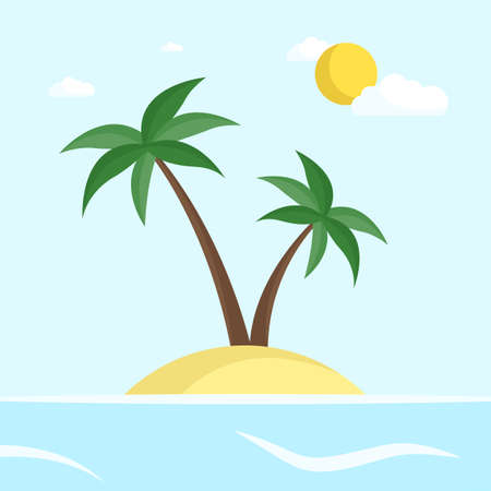Tropical island with palm trees in the ocean. Vector illustration. Flat style Ilustracja