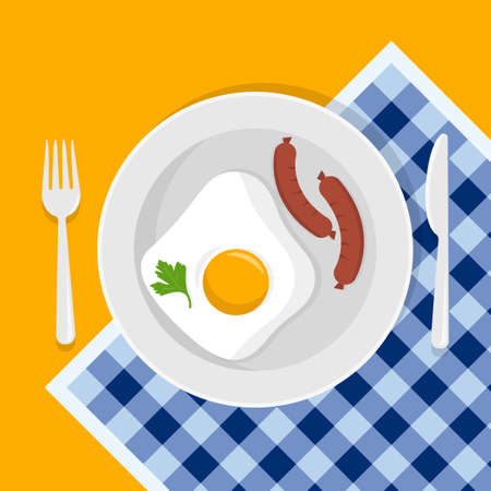 Breakfast with eggs, sausages, green parsley leaf. Fork and knife, plate. Flat style. Vector illustration Иллюстрация