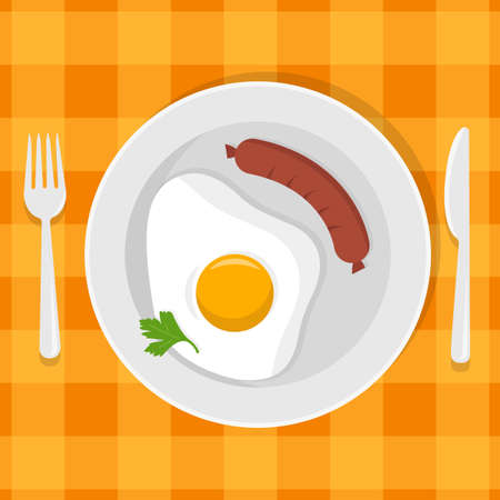 Fried eggs on a plate. Breakfast with eggs, sausage, green parsley leaf, sauce, coffee cup on plate. Fork and knife. Vector illustration. Flat style Иллюстрация