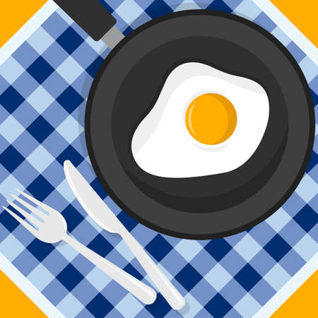 Fried eggs. Breakfast with eggs. Bake fried eggs in a frying pan. Fork and knife. Vector illustration. Flat style Иллюстрация