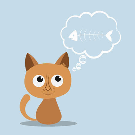 Cute hungry cat or kitten thinks about fish / fishbone. Cartoon character, animal collection. Thoughts bubble. Vector illustration