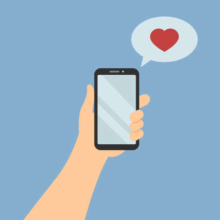 Hand holding mobile phone with love message. Heart in bubble. Flat cartoon style. Vector illustration