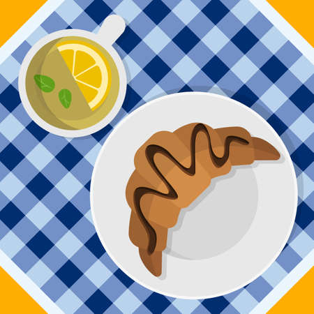 Breakfast with croissant on plate, tea cup with lemon and mint leaves. Top view. Tasty dessert with hot beverage. Vector illustration. Flat style