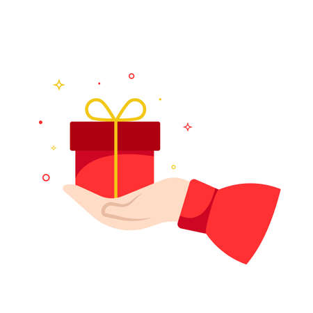 Hand with gift box isolated on white. Flat style. Vector illustration