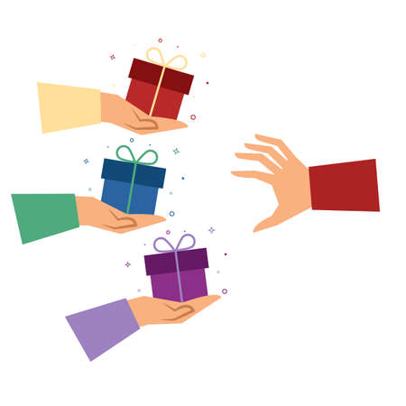Hands with gifts isolated on white background. Gift box passed from hand to hand. Vector illustration. Flat style