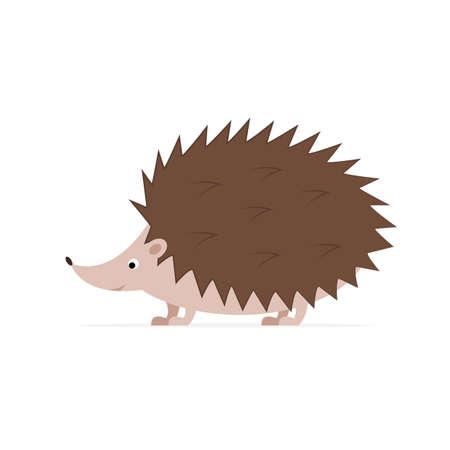 Hedgehog on white background. Simple illustration of cute hedgehog. Cartoon character. Vector flat style 矢量图像