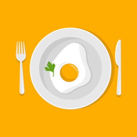 Fried egg on a plate with fork, knife. Vector illustration. Flat style