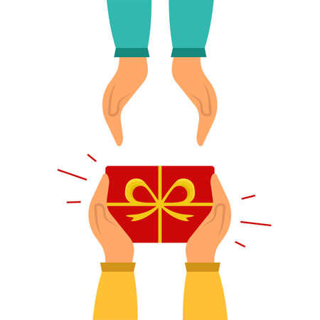Hands with gift isolated on white background. Hands holding a gift box and giving it to other person. Gift passed from hands to hands. Flat cartoon style. Vector illustration
