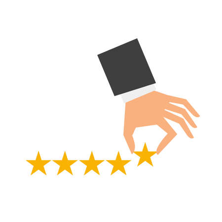 Hand of businessman putting five star shape. The best excellent business service rating customer experiance concept. Flat style. Vector illustration Illusztráció